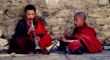 Two Bhutanese Monks playing music